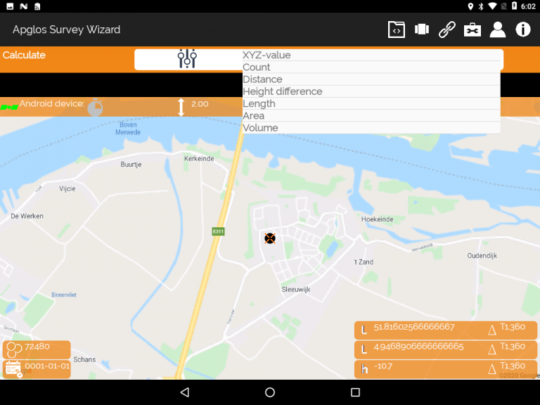 Apglos Survey Wizard-calculation screen