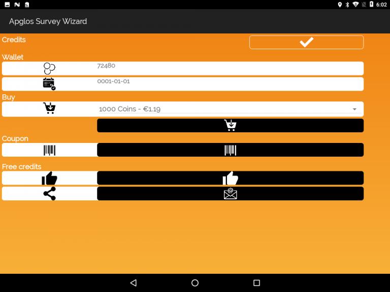 Apglos Survey Wizard-credit screen