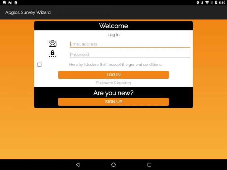 Apglos Survey Wizard log in screen
