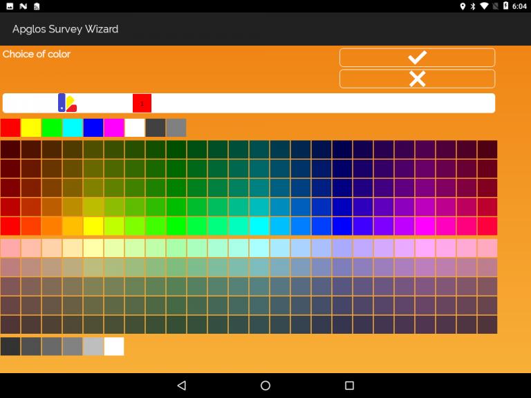 Apglos Survey Wizard-select color screen
