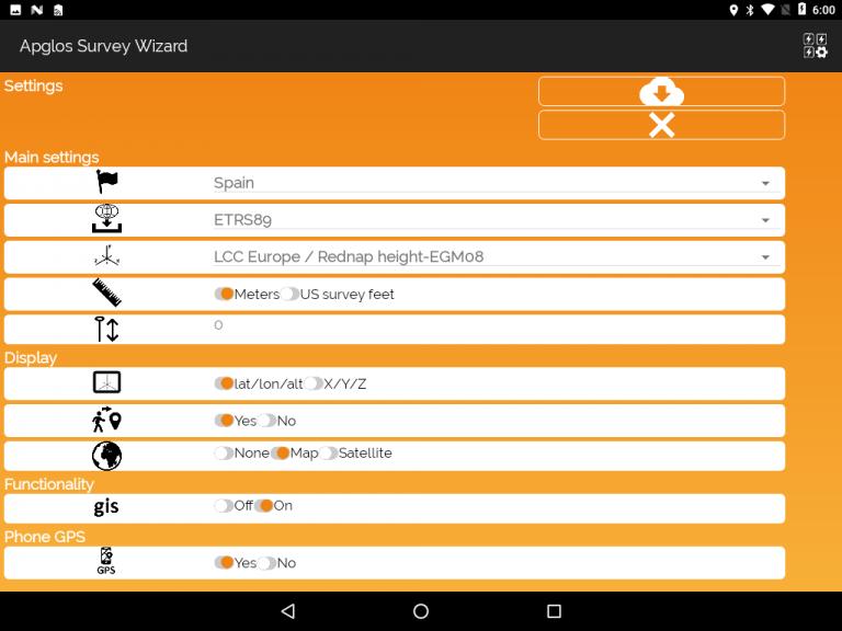 Apglos Survey Wizard-settings screen